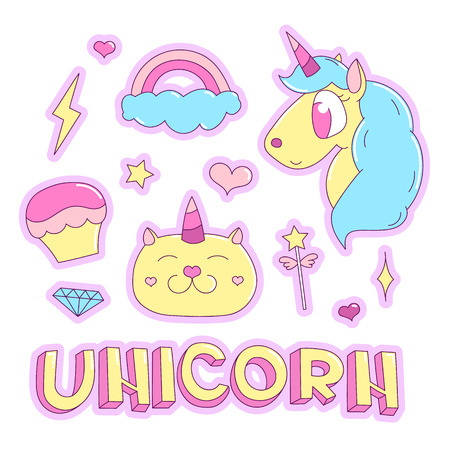 Trendy sticker pack with magical unicorn, cat, rainbow, diamond, lightning, star, heart, capcake, magic wand, inscription unicorn. You can use as stickers, icons, pins, patches, etc.