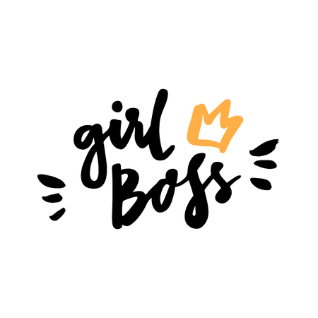 カリグラフィの引用「少女ボス」白地に黒インクの手書き。ステッカー、パッチ、携帯電話ケース、ポスター、t シャツ、マグカップなどのため使用