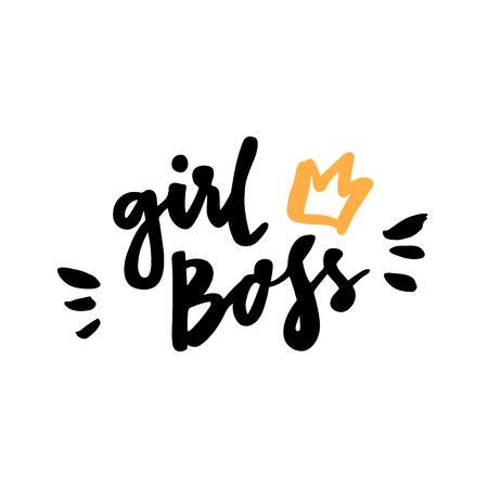 """Het kalligrafische citaat """"Meisje baas"""" handgeschreven van zwarte inkt op een witte achtergrond. Het kan voor sticker, flard, telefoonhoesje, affiche, t-shirt, mok enz. Worden gebruikt."""