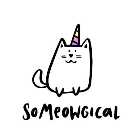 """Leuk beeld van een kat met een horing eenhoorn. Met een citaat """"So meowgical"""" handtekening van zwarte inkt. Het kan gebruikt worden voor sticker, patch, telefoon hoesje, poster, t-shirt, mok, enz. Stock Illustratie"""