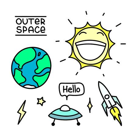 Ruimte die met aarde wordt geplaatst; zon; vliegende schotel; opschrift - hallo; raket; ster; bliksem. U kunt gebruiken als stickers, pictogrammen, pinnen, patches, enz.
