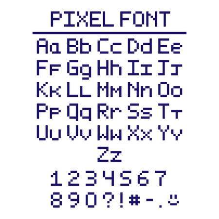 Pixel font in the eight bit style witn numbers and smiley. Isolated on a white background.