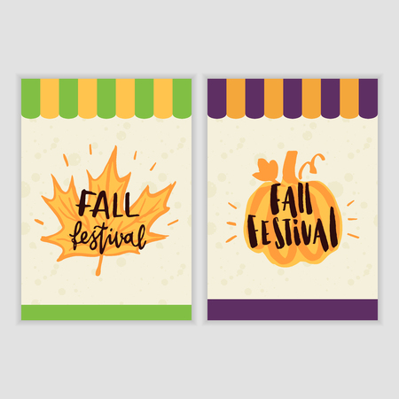 Poster design for the Fall Harvest Festival. Inscription Fall Festival with stylized pumpkin and maple leaf. It can be used as brochures, leaflet and other promotional marketing materials.