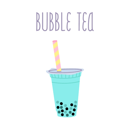 Bubble tea or milkshake with tapioca pearls and text on a white background.  It can be used for card, menu, poster, phone case etc.
