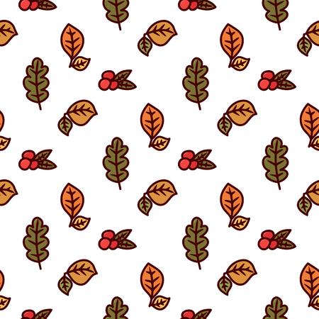 Naadloos de herfstpatroon met bladeren en bessen op een witte achtergrond. Het kan worden gebruikt voor verpakking, inpakpapier, textiel en etc.