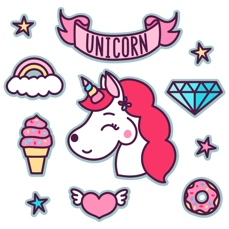 Trendy sticker pack with magical unicorn, star, diamond, ice cream, heart, cloud, ribbon, rainbow, donut. You can use as stickers, icons, pins, patches, etc.