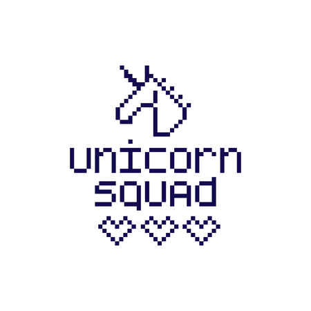 The inscription Unicorn squad in the simple eight bit style. It can be used for sticker, patch, phone case, poster, t-shirt, mug etc. Illustration