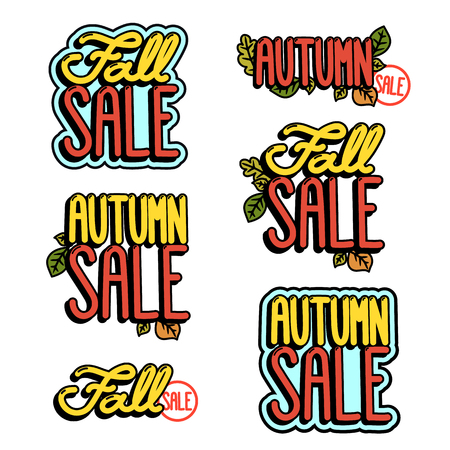 Set inscriptions for the autumn sale. Fall sale, autumn sale. It can be used for website design, poster, sticker, patch etc.