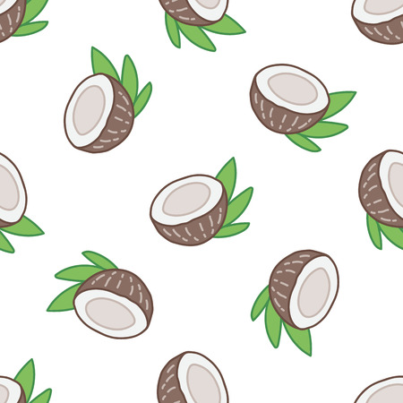 Seamless summer pattern with coconut on a white background.  It can be used for packaging, wrapping paper, textile and etc. Ilustração