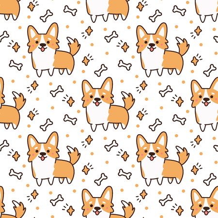 Cute pattern with  dog breed welsh corgi on a white background with hearts, stars,bones. It can be used for packaging, wrapping paper, textile and etc.