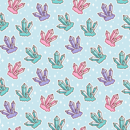 Cute pattern with crystal and stars on a blue background. It can be used for packaging, wrapping paper, textile and etc.