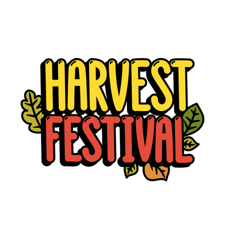 Inscription Harvest festival on a white background. It can be used for poster, concert ticket, sticker and other promo materials. Vector image.