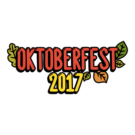 pretzel: Inscription Oktoberfest 2017 on a white background. It can be used for poster, concert ticket, sticker and other promo materials. Vector image. Illustration