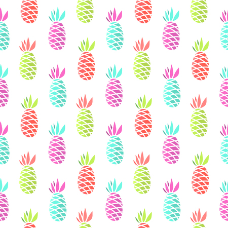 Seamless summer pattern with pineapple on a white background.  It can be used for packaging, wrapping paper, textile and etc.