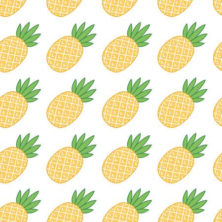 Naadloos de zomerpatroon met ananas op een witte achtergrond. Het kan worden gebruikt voor verpakking, inpakpapier, textiel en etc. Stock Illustratie