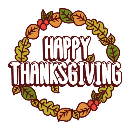 Inscription Happy thanksgiving on a white background. It can be used for poster, concert ticket, sticker and other promo materials. Vector image.