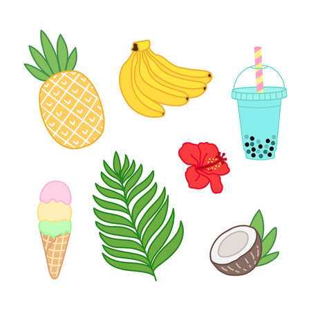 Summer tropical set with banana, pineapple, palm leaves, coconut, flower of Hawaii, smoothies or bubble tea, ice cream on a white background.