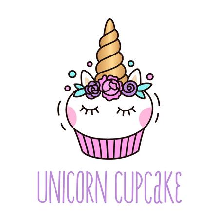 Bicchiere unicorno carino su uno sfondo bianco. Può essere utilizzato per carta, adesivo, patch, cassa di telefono, poster, t-shirt, tazza, ecc. Vettoriali