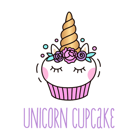 Cute unicorn cupcake on a white background.  It can be used for card, sticker, patch, phone case, poster, t-shirt, mug etc. Фото со стока - 84509493