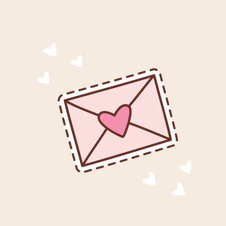 Cute envelope with heart and dotted line
