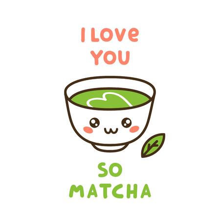 Cup of matcha tea icon. Illustration