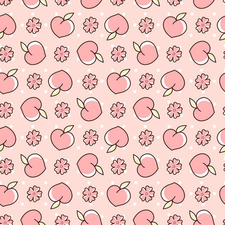 Cute seamless pattern with peaches and peach blossoms on a pink background with dots. It can be used for packaging, wrapping paper, textile and etc. Ilustracja