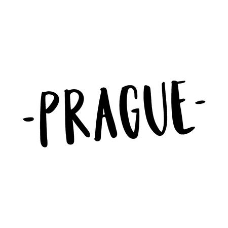 De opschrift Praag - stadsnaam handtekening van zwarte inkt op een witte achtergrond. Vector afbeelding. Het kan gebruikt worden voor een sticker, patch, uitnodigingskaart, brochures, poster en dergelijke. Stock Illustratie