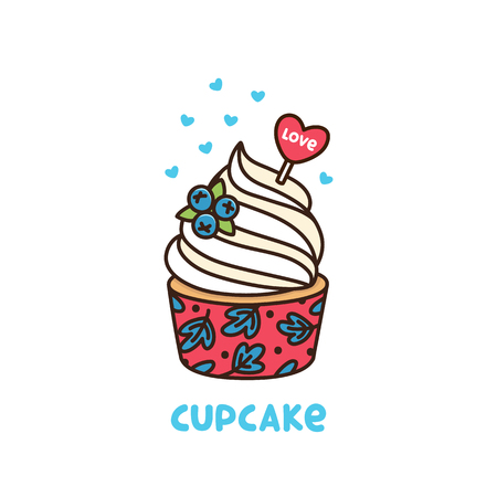 Blueberry cupcake with whipped cream and red heart with inscription love. It can be used for card, mug, poster, t-shirts, phone case etc. Illustration