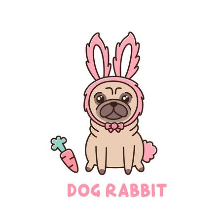 ウサギの衣裳でパグ犬種のかわいい犬。ステッカー、パッチ、携帯電話ケース、ポスター、t シャツ、マグカップ、他のデザインに使用できます。