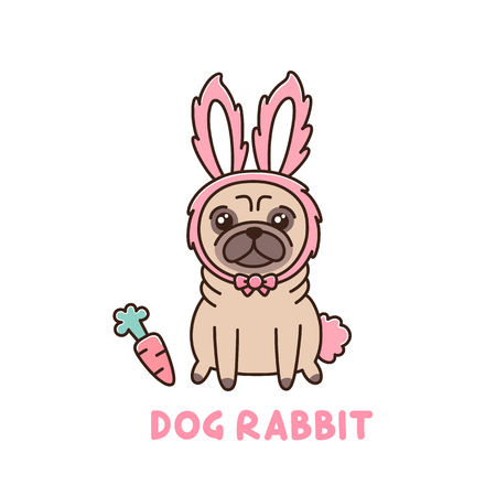 Leuke hond van pug ras in een konijn kostuum. Het kan gebruikt worden voor sticker, patch, telefoon hoesje, poster, t-shirt, mok en ander ontwerp.