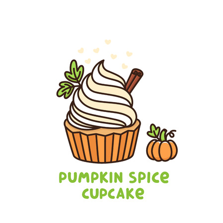 day: Pumpkin spice cupcake with whipped cream and small pumpkin, American Thanksgiving Day dessert. It can be used for card, mug, poster, t-shirts, phone case etc.