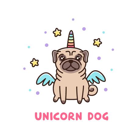 Netter Hund der Pugzucht in einem Einhornkostüm. Es kann für Aufkleber, Fleck, Telefonkasten, Plakat, T-Shirt, Becher und anderes Design verwendet werden. Standard-Bild - 87596729