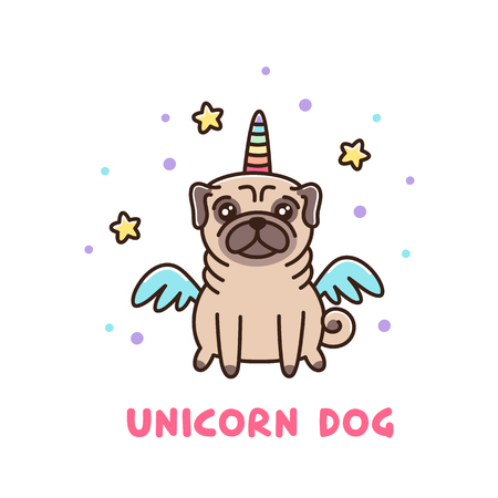Cute dog of pug breed in a unicorn costume. It can be used for sticker, patch, phone case, poster, t-shirt, mug and other design.