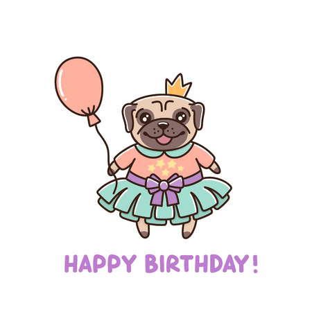 Pretty little dog breed pug in a tutu, with a crown and a balloon.