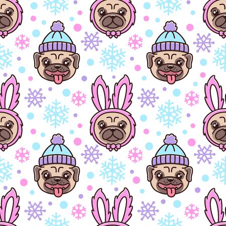 Leuk patroon met hondenras pug in hoed en hond in een konijnkostuum.