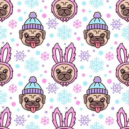 Cute pattern with dog breed pug in hat and dog in a rabbit costume.