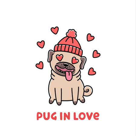 Ð¡ute dog breed pug in hat, in love.