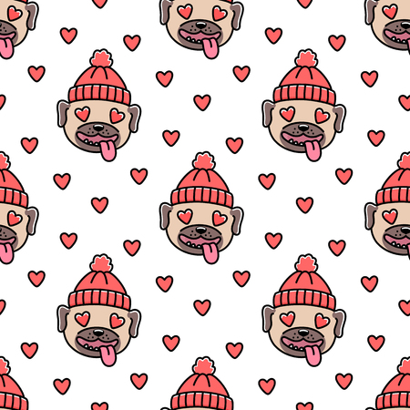 Cute pattern with dog breed pug in red knitted hat.