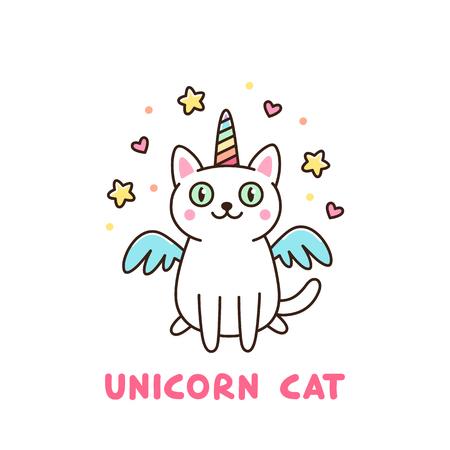 Chat blanc mignon dans un costume de licorne avec des ailes et corne arc-en-ciel. Il peut être employé pour l'autocollant, le patch, le cas de téléphone, l'affiche, le T-shirt, la tasse et toute autre conception.