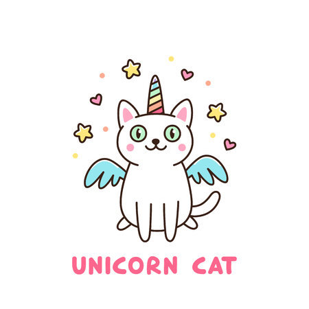 Cute white cat in a unicorn costume with wings and rainbow horn. It can be used for sticker, patch, phone case, poster, t-shirt, mug and other design. Imagens - 88260119