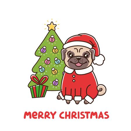 P¡ute perro de raza pug en traje de Santa Claus. Árbol de Navidad con una guirnalda y un regalo. Tarjeta de feliz Navidad. Se puede utilizar para pegatina, parche, funda de teléfono, póster, camiseta, taza y otro diseño.