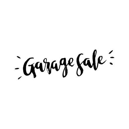Garage sale logo, in grunge style. Painted by hand in black ink in brush lettering technique. Vector. It can be used for card, brochures, poster etc.