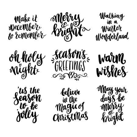 メリー クリスマスのトレンディな書道のスタイルで手描きの見積もりを設定します。