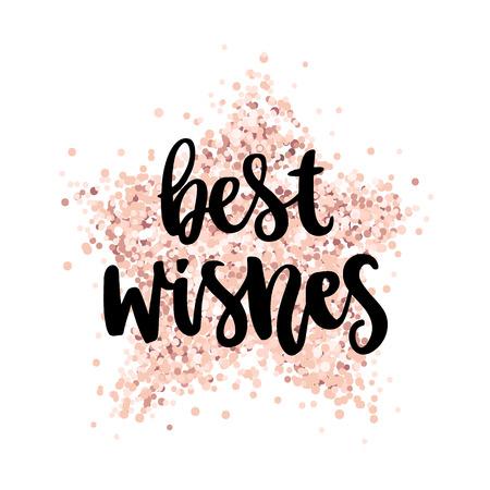 손으로 그리는 인용구 : 핑크 골드 반짝이 별에 최고의 소원. 메리 크리스마스 카드입니다. 카드, 찻잔, 브로셔, 포스터, 티셔츠, 전화 케이스 등에 사용 일러스트