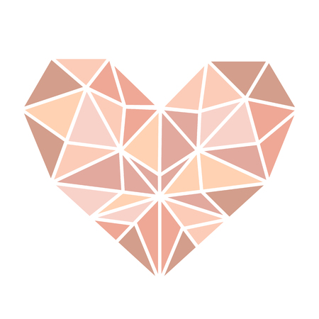 The heart of the pink gold triangle on a white background. Template for banner, card, save the date, birthday party, wedding card, valentine, etc. Illustration