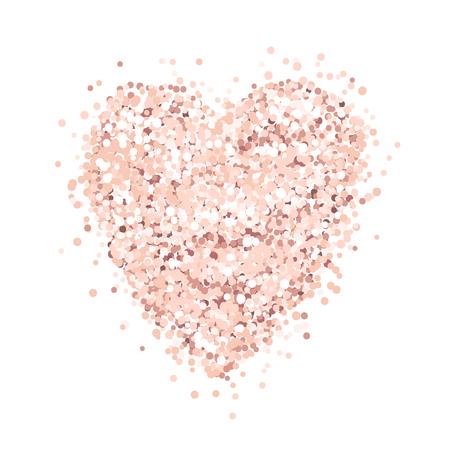 Serce z różowego złota brokatu na białym tle. Szablon na baner, kartkę, zapisz datę, przyjęcie urodzinowe, kartkę ślubną, walentynki itp.