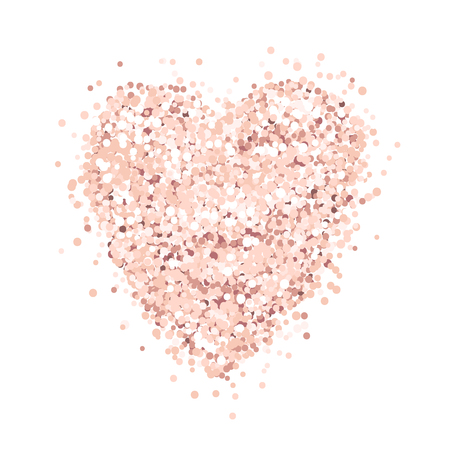 Heart of pink gold glitter on a white background. Template for banner, card, save the date, birthday party, wedding card, valentine, etc.