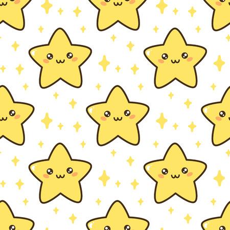 かわいい星とシームレスなパターン。包装、包装紙、繊維などに使用できます。  イラスト・ベクター素材