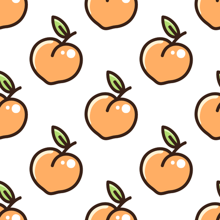 Cute pattern with peach on a white background. It can be used for packaging, wrapping paper, textile and etc. Ilustração