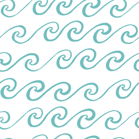 Seamless pattern with blue wave, in marine style. It can be used for packaging, wrapping paper, textile and etc.